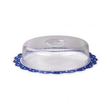 """Блюдо """"Горошек"""" с крышкой (диаметр 370мм)(бело-синий)"""