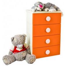 Комод 4 секции детский цельнолитой цвет оранжевый