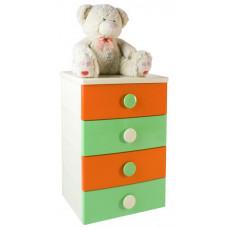 Комод 4 секции детский цельнолитой цвет оранжево-зеленый