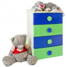 Комод 4 секции детский цельнолитой цвет сине-зеленый