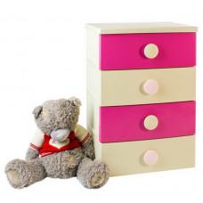Комод 4 секции детский цельнолитой цвет розово-бежевый