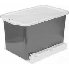 Ведро мусорное выдвижное 15 л (мокрый асфальт,снежно-белый)